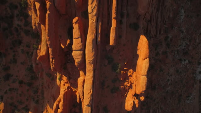Tilt shot from the Tower Arch at The Arches National Park at sunset