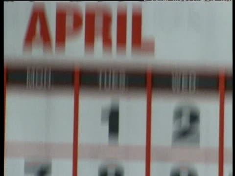 Tilt up calendar to show date April 1st