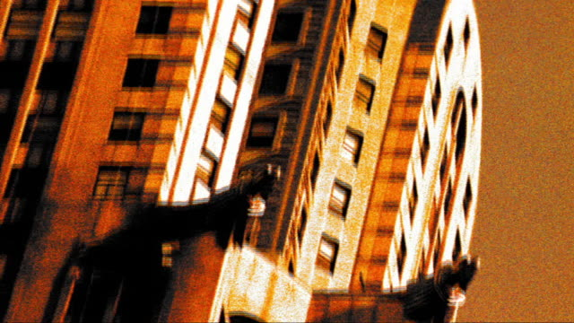GRAINY CROSS PROCESS tilt up close up Chrysler Building in New York City