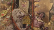Tilt up effigy, Durga Puja festival, Kolkata, India Available in HD.