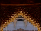 Tilt up ornate Moorish fretwork arches in Alhambra Palace Spain