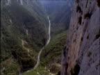 Tilt up over river in deep limestone gorge France