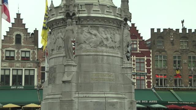 Tilt Up Shot Famous Statue Bruges West Flanders Belgium