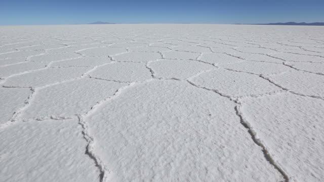 Tilt up shot of a Salt field in Bolivia