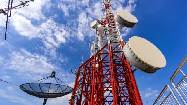 Kantelen van de timelapse van telecommunicatie toren tegen blauwe hemel