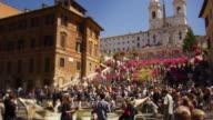 Tilt up to Trinità dei Monti in slow motion
