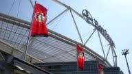 Tilted mid shot of Leverkusen flag and crest above stadium Bayer 04 Leverkusen v TSG 1899 Hoffenheim Bundesliga Editorial Video Footage at BayArena...