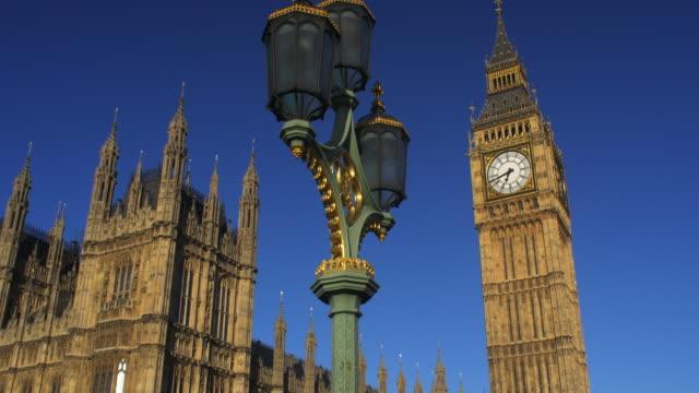 Tilt-up ,wide shot to Big Ben.Westminster.
