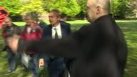 Tim Farron greeting Liberal Democrat supporters in Richmond southwest London