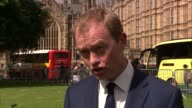 London Westminster EXT Tim Farron MP interview SOT