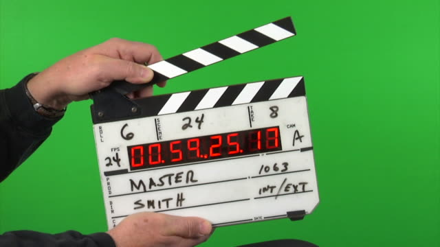 Time code slate on green screen background 3 takes