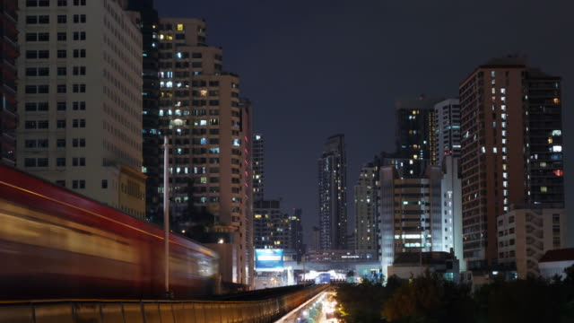 4K Time Lapse 4096x2160 : The skytrain nigh time at Bangkok, Thailand with ProRes 422HQ.