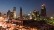Time Lapse- Aerial View of Beijing Skyline from Dusk to Night