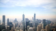 Time lapse : Aerial view of Chicago downtown at sunset
