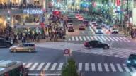 4K Time Lapse : Aerial view of Shibuya pedestrian crossing by night, Tokyo, Japan