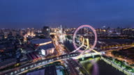 Time Lapse- Aerial View of Tianjin Skyline and the Ferris Wheel at Night (WS)