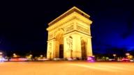 Time lapse : Arch of Triumph, Champs-Elysees in Paris