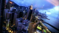 Time lapse as night falls over Hong Kong Available in HD.