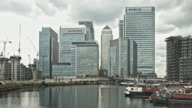 Time lapse at Canary Wharf on a cloudy day