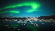 Time Lapse: Aurora Borealis over Jokulsarlon - Iceland