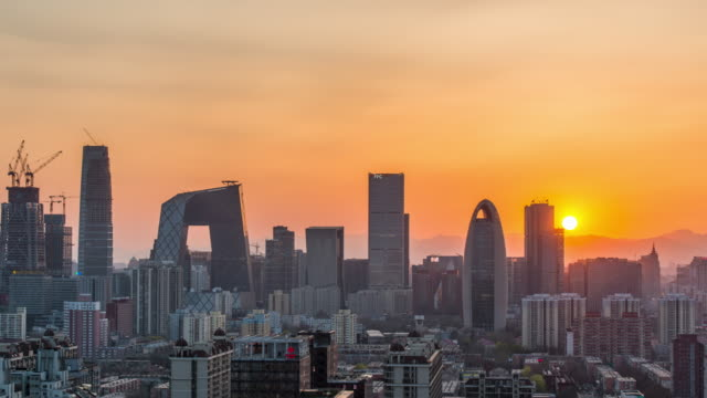 Time Lapse -  Beijing Urban Skyline at sunset (M.S. / RL Pan )