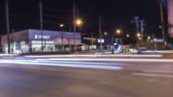 4K time lapse: blurred motion light on road in city