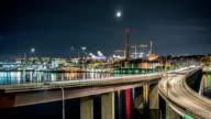 HD Time Lapse: Bridge Traffic at Night