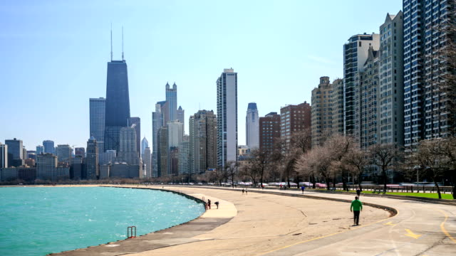 Time lapse : Chicago city at North Avenue Beach.