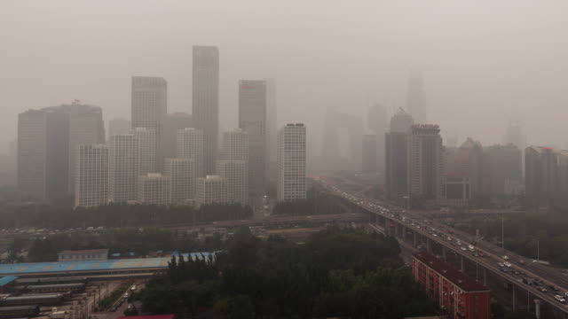 Time Lapse- City in Air Pollution, Beijing (Panning)