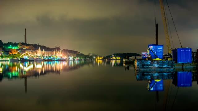 HD Time Lapse: City Lake at Night