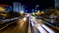 Time Lapse-Verkehr In der Nacht (Zoom)