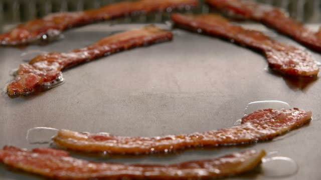 Time lapse close up of strips of bacon frying on grill / hands cracking egg onto grill / spatula removing egg and bacon