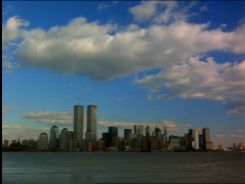 time lapse clouds over New York City skyline
