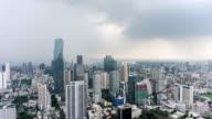 Time lapse cloudy before raining at Bangkok downtown, Thailand - Tilt effect
