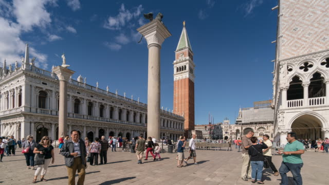 Time Lapse Crowd of people at Venice, St. Marks square, Campanile, Venice, Italy