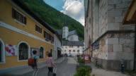 Time Lapse, Crowd waking at Hallstatt downtown, Austria
