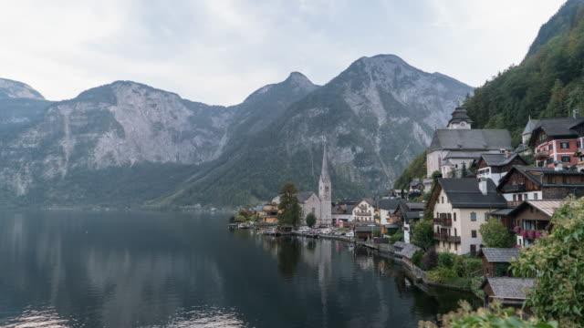 Time lapse Day to night Hallstatt Village Cityscape lake Austria