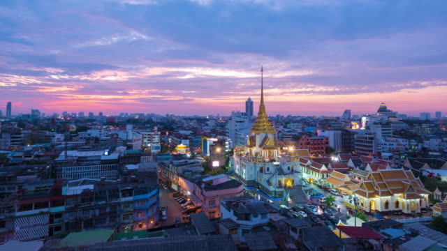 Time Lapse : Day to night of Wat Traimit Witthayaram Worawihan attractive temple for tourism. Temple of the Golden Buddha in Bangkok, Thailand