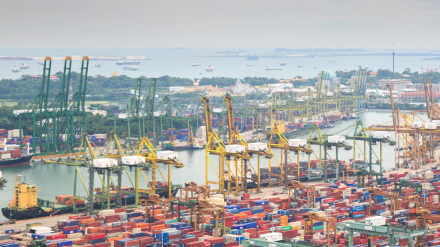 4K Time Lapse : Docks and Shipping Singapore