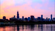 Time lapse : Downtown Chicago across Lake Michigan at sunset