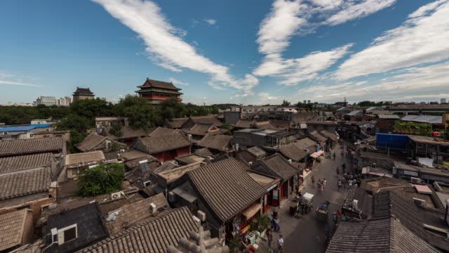 Time Lapse-Drum Tower och Hutong i Peking