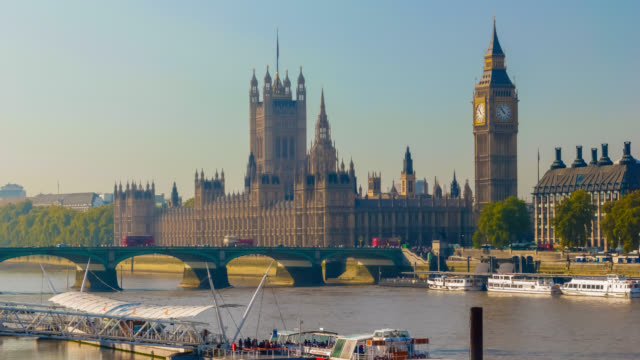 Time lapse footage of boat activity on River Thames in London with Houses of Parliament in the background .
