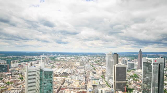 4K Time Lapse :Frankfurt banking district Skyline