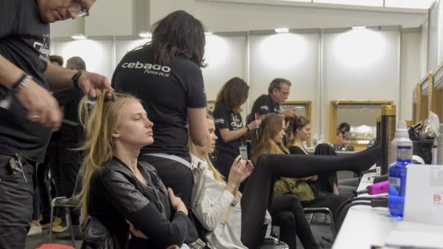 Time lapse general view of the backstage during Barcelona Bridal Week 2016 on April 29 2016 in Barcelona Spain