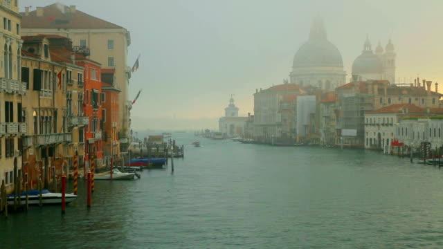 Time Lapse: Grand canal and Basilica Santa Maria della Salute, Venice, Italy.