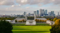 time lapse Greenwich & London's National Maritime Museum and Canary Wharf