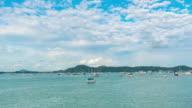 4K Time Lapse : harbor marine insurance business boat harbor luxury tourism coastline travel at phuket