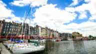 HD Time lapse : Honfleur village harbor in Normandy, France