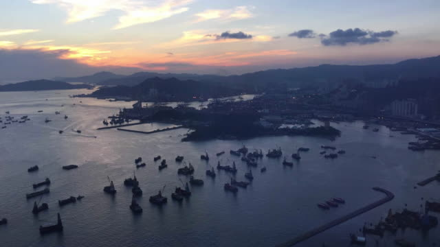 Time lapse Hong Kong victoria harbor view from top