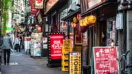 Time lapse in a narrow street at Shinjuku